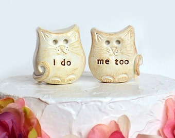 Cat wedding cake topper...cats in love... i do, me too, for cat and animal lovers...outdoor barn farm country rustic wedding