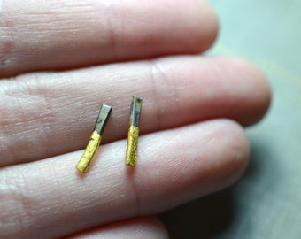 Small Gold & Steel Stick Earrings- line bar studs, gold dipped studs, industrial bar stud earrings, black and gold minimalist earrings