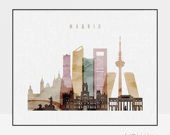 Madrid print, Madrid poster, Wall art, Madrid skyline, Travel poster, Madrid watercolor print, Home decor, Gift, ArtPrintsVicky