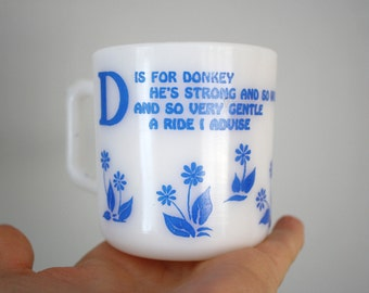 Vintage Hazel Atlas D is for Donkey Kiddie Ware Mug Cup