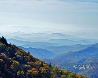 Blue Ridge Mountains, Mountain Photograph,Smoky Mountains, North Carolina, 10x15, BRP, Landscape Photography, Nature, Wall art