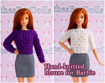 Barbie clothes knitted blouse/Barbie knitted white  blouse/Barbie knitted purple blouse/Barbie sweater/Barbie fashion outfit/Doll clothes