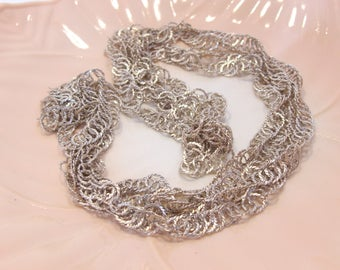 Long Silver Tone Circle Loop Filigree Chain Necklace Retro Vintage Great Mother's Day Gift
