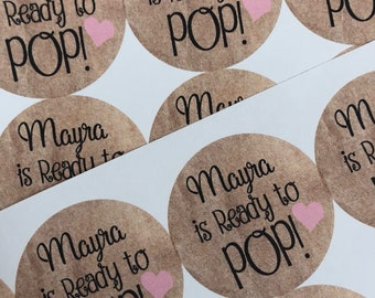 Ready To Pop Stickers. Custom Stickers. Sticker Label. Baby Shower. Baby Shower Stickers. Ready to Pop. Ready to Pop baby shower. 20 STICKER