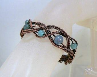 Bracelet Arzhela - aigue-marine et cuivre brut