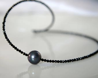 Black Freshwater pearl spinel necklace gemstone Necklace Black Freshwater pearl Spinellkette gemstone necklace made of black spinel
