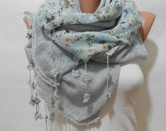 Mothers Day Gift For Mom Blue Floral Scarf Shawl Light Blue Scarf Winter Scarf Boho Scarf Bohemian Accessories Gift For Women Gift For Her