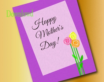E Mother's day  card instent download Happy mothers day digital mothers day greeting card printable greeting card for mothers day