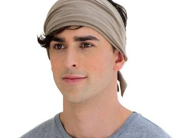 HU Walnut Brown Men's Headband. Organic Cotton Neutral Headband for Men. Light Brown Bandana. Perfect Hiking Headband & Crossfit Sweatband.