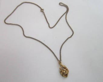 Vintage Gold Tone Chain Necklace with Faux Gold Nugget Pendant