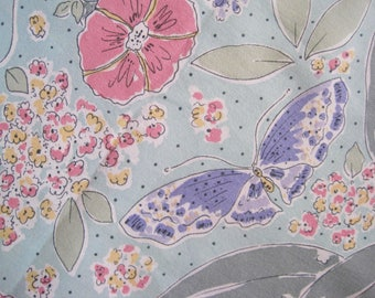 Vintage Fabric, French Florals, Sheet Fabric, Quilting And Patchwork Fabric, Sewing Project, Butterfly Fabric, Vintage Sheet Fabric, Vintage