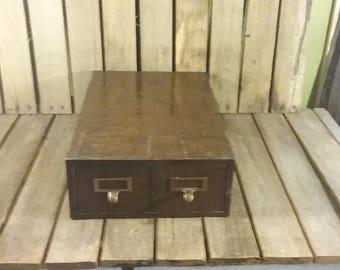 Metal File Cabinet, Vintage Metal Wood Grain File Box,