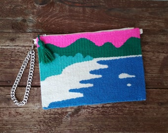 Neon pink and blue zipper clutch with seaside landscape - Handwoven wristlet w silver chain - Classy women purse - Wearable textile art OOAK