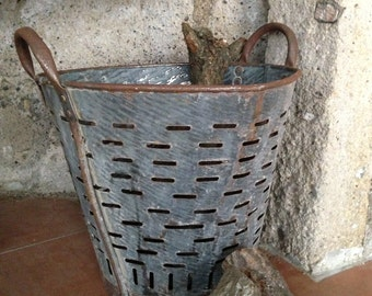 Rustic metal olive basket,Vintage Bucket and Storage,Decorative Basket,Rustic Bucket