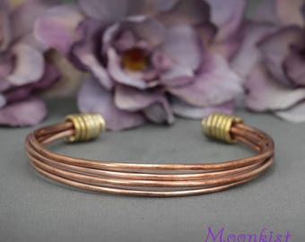 Copper and Brass Cuff Bracelet, Mixed Metal Bracelet made from Recycled Materials, Adjustable Size Bracelet