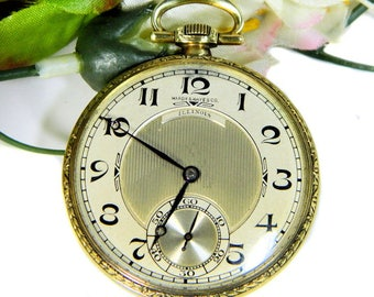 Antique 14K Gold Illinois Men's Pocket Watch 1922 Hardy & Hayes 19 Jewels Adjusted