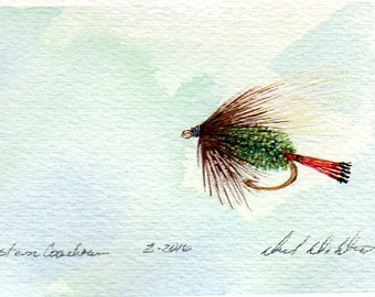 Fly Fishing Art - Original Art - Watercolor - Western Coachman - Dry Fly - Made in Michigan - Michigan Artist - Fly Fishing - Black Frame