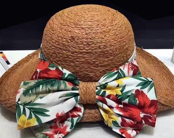 High-grade handmade flowers lafite straw hat female summer bask in a big hat along the bowknot flanging beach holiday Beach hat