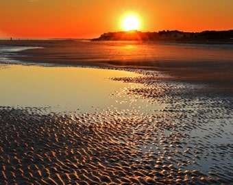 Sundown, Beach, Nature Photography, Peaceful, Sunset, Wall Art, Home Decor, Coastal ,Print ,Orange, Seashore