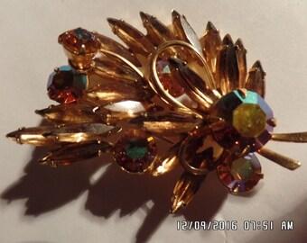 Stunning Vintage Signed Weiss Amber & Amber Aurora Borealis Rhinestone Brooch
