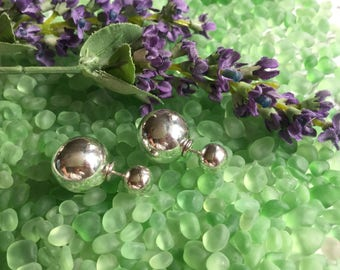Double , 6 x 10mm , ball ear jackets/silver ball studs/ear jackets/sterling ball studs/double sterling studs/small stud earrings/Sterling/Di