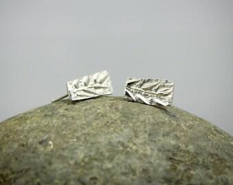 Stud Earrings, Leaf Stud Earrings, Post earrings, Solid Sterling Silver, Hammered earrings, Silver Stud Earrings, 925 stamped