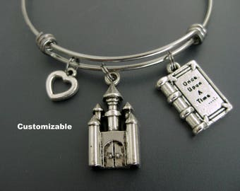 Once Upon A Time Bracelet /  Once Upon A Time Bangle / Castle Bracelet / Fables and Fairytale Bangle / Stainless Steel Charm Bracelet /