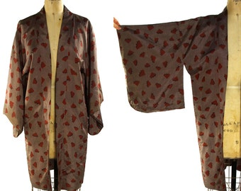 Vintage Haori Silk Kimono / Short Kimono Duster in Mocha Colored Silk with Rust Colored Abstract Pattern