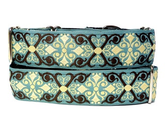 Martingale collar, dog collar, CAMELOT, Teal and Black, Safety Collar, Greyhound Collar, Sighthound Collar, Adjustable training collar