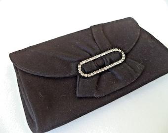 1950s EVENING BAG. Black Evening Bag, Satin Clutch Purse. Rhinestone Clasp. Evening Bag with Original Coin Purse. Art Deco Evening Bag