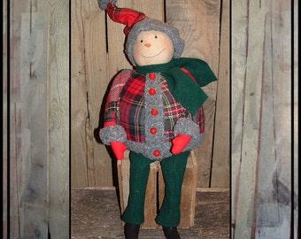 Round fat Folk Art snowman hand embroidered cloth nose wool patchwork stocking cap HAFAIR ofg faap lucys lazy dayz red green