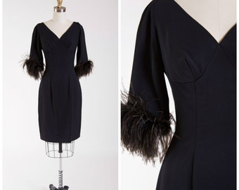 Late 1950s Vintage Cocktail Dress • La Chance • Black Rayon Vintage 50s Party Dress Feather Cuffs Size Small