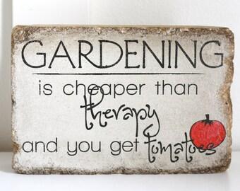 Rustic Garden Decor. 6x9 Tumbled (concrete) Stone Paver. Garden Decor. Gardening Quote. Rustic Bookend. Outdoor Sign. Garden Stone