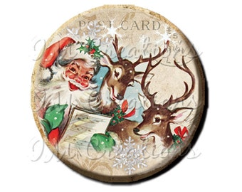 "LIQUIDATION SALE! Vintage Christmas Santa Reindeer Caroling Pocket Mirror, Magnet or Pin - 2.25"""