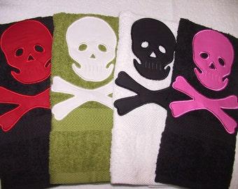 Skull and Crossbone Soft Hand Towel/many colors/handmade/great gift idea