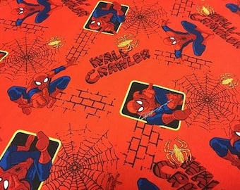 Marvel Spiderman Wall Crawler Red Allover 14153 from Springs Creative by the yard