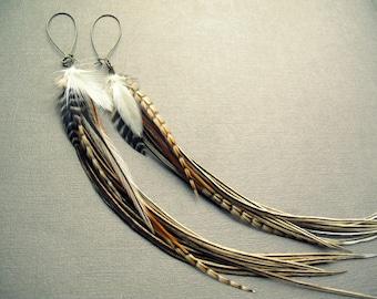 Long Feather Earrings - Extra Long Earrings - Feather Jewelry - Statement Earrings - Bohemian Earrings - Boho Jewelry - Long Tribal Earrings
