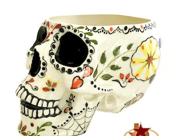 Large Sugar Skull Day of the Dead Design Holder for Make-up Brushes, Kitchen Counter Catch All, Bath Vanity Organizer, Planter