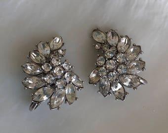 Vintage 1950s Clear Rhinestone Clip Earrings Trifari