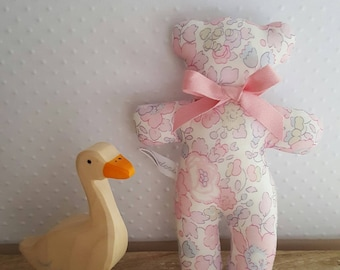 Little bear toy in Liberty Betsy pink Blotter.