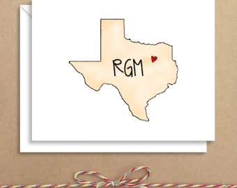 Texas Note Cards - Folded Note Cards - Personalized Stationery - Thank You Notes - Illustrated Note Cards