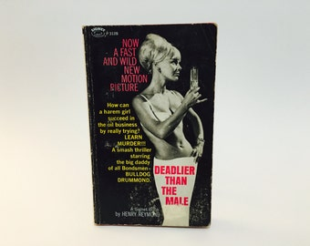 Vintage Pop Culture Book Deadlier Than The Male by Henry Reymond 1967 Movie Tie-In Edition Paperback