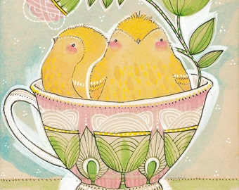 Easter Decoration, Spring Chicks Art Print 8 x 10 watercolor illustration Animal Themed Nursery Baby Room Decorating Ideas