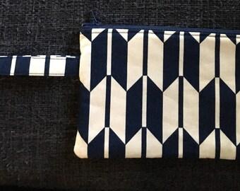 Navy Blue Chevron Geometric Pencil Case Make Up Bag Zipper Pouch Clutch Bathroom Bag