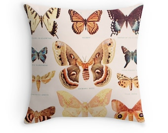 Vintage Pillow Cover Vintage Dictionary Illustration Butterflies Science Chart Insects Brown Yellow Fall Home Decor