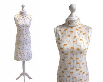 60's Mod Dress - 1960's Vintage Dress - 60's Dress - White And Mustard Yellow Loops Dress