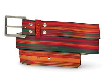 Tequila Sunrise Leather Belt, Sunrise Leather Belt, Liquor Belt, Sunset Leather Belt, Warm