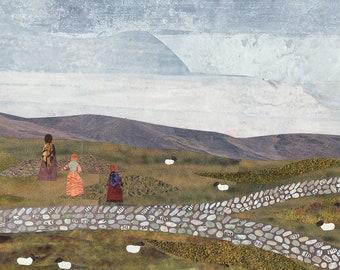 Brontë-Schwestern-Druck, über die Mauren, Haworth, Recycling Kunst, Collage, Wuthering Heights, Jane Eyre, Heidschnucken, Landschaft, Bronte Land