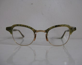 Vintage 1950s Cat Eyeglasses 50s Green emerald Gold Fleck 12 KGF Eyewear
