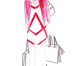Digital Download - Watercolour fashion illustration Titled Strolling Through Beverly Hills